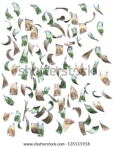 Euros falling, isolated on white background - stock photo