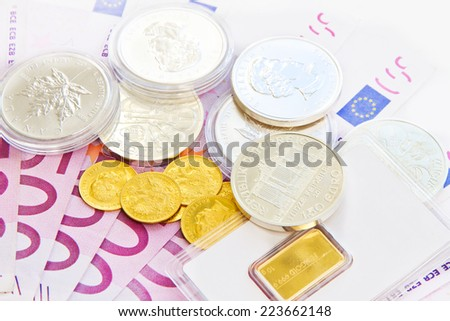 Euros, gold and silver - stock photo