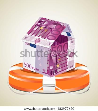 Euros House with Life Buoy - stock photo