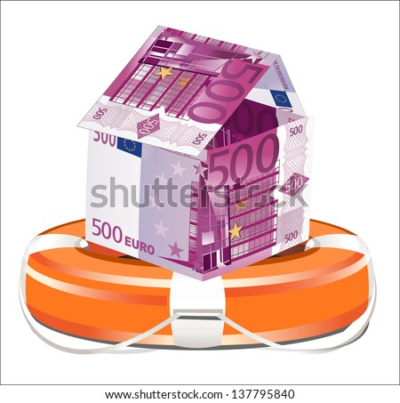 Euros House with Life Buoy on a white background. Insurance concept - stock photo