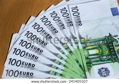 euros in envelope on the table