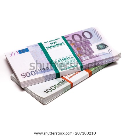 Euros money stack isolated on white background - stock photo