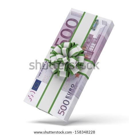 Euros with decorative bow - stock photo