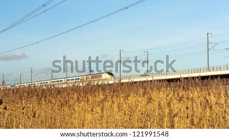 eurostar train hs1 hs2  - stock photo
