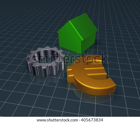 eurosymbol, house and gear wheel - 3d rendering - stock photo