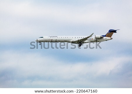 Eurowings Canadair CL-600-2D24 Regional Jet CRJ-900LR - D-ACNW landing, GERMANY,  HAMBURG Airport, September, 08, 2014