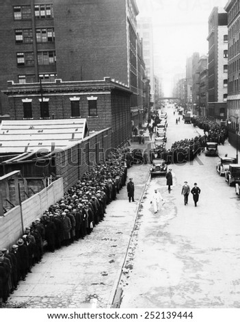 EV1807 - Men on a bread line at the Municipal Loding House in New York City, Christmas Day 1931. - stock photo