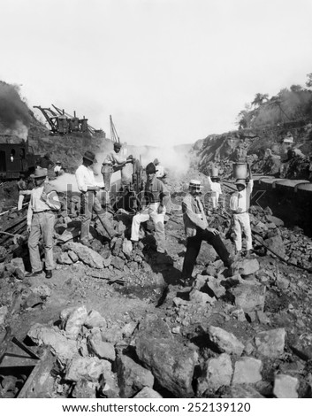EV1818 - Work crew drilling through solid rock to create the Panama Canal, Panama, 1906.