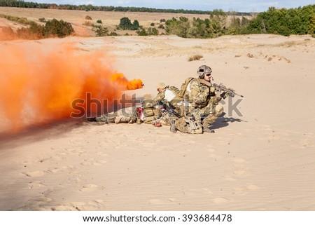 Evacuation in the desert - stock photo