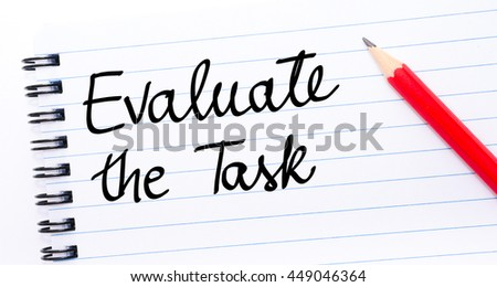 Evaluate the Task written on notebook page with red pencil on the right