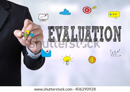 EVALUATION Businessman drawing Landing Page on blurred abstract background - stock photo