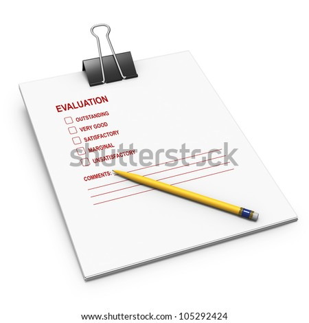 Evaluation checklist with yellow pen on white background - stock photo