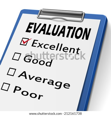 evaluation clipboard with check boxes marked for excellent, good, average and poor - stock photo