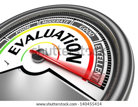 evaluation conceptual meter, isolated on white background - stock photo