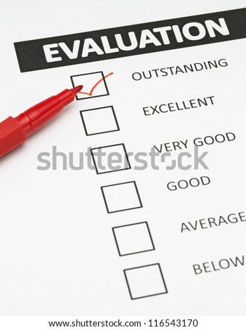 Evaluation form with a tick placed in Outstanding checkbox.