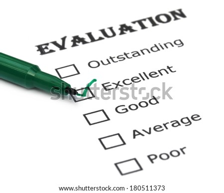 Evaluation sheet over white background