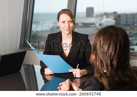 evaluation talk  - stock photo
