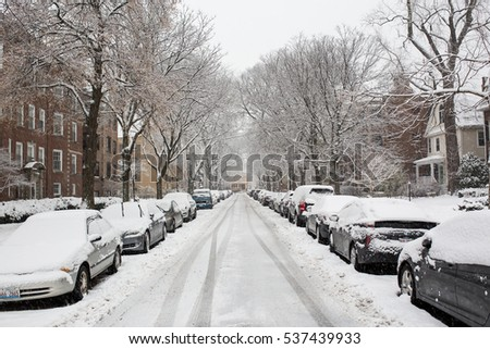 EVANSTON, IL: December 2016 - Snow covered streets in Evanston, IL
