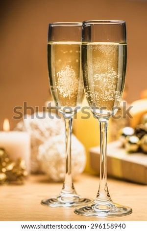 Eve, wine, dinner. - stock photo