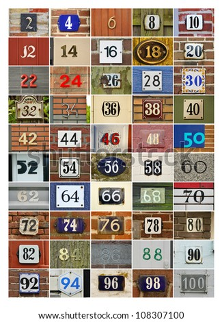 Even House Numbers two to Hundred - stock photo