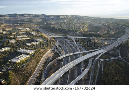 Evening aerial photo of Newport Beach/Newport Coast/Low altitude photos of Orange County California - stock photo
