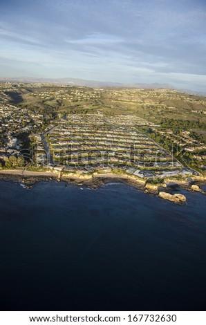 Evening aerial photo of Newport Beach/Newport Coast/Low altitude photos of Orange County California - stock photo