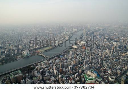 Evening aerial view of living and business area in Tokyo, Japan - stock photo