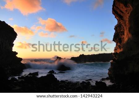 Evening at Ana Kakenga grotto - stock photo