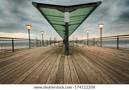 Evening at Boscombe Pier in Bournemouth, Dorset - stock photo