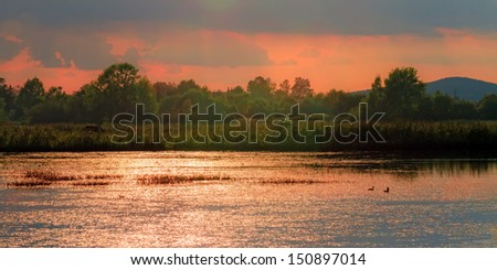 Evening at Chateau Seehof. Landscape Picture of a wonderful evening at chateau Seehof in Upper Franconia, Germany. Shot near one of the landmarks of the rococo period in Europe - stock photo