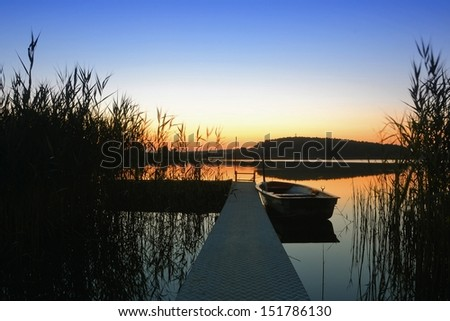 Evening at Lake Beetzsee in Brandenburg - stock photo