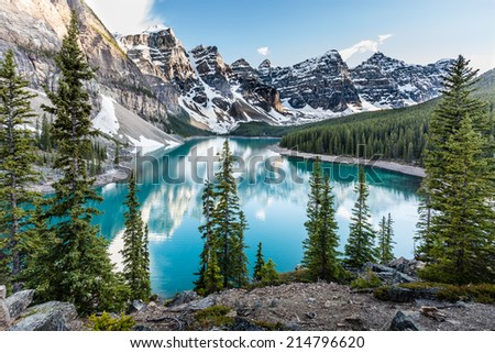 Evening at Moraine Lake taken from the rockpile. It is probably the most iconic Canadian lake. Banff National Park - Alberta - stock photo