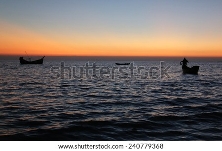 Evening at Saint Martins Island of Bangladesh - stock photo