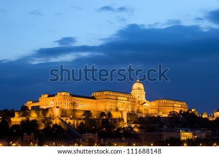 Evening at the Buda Castle in Budapest, Hungary, composition with copyspace. - stock photo