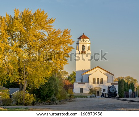 Evening at the train depot in Boise Idaho - stock photo