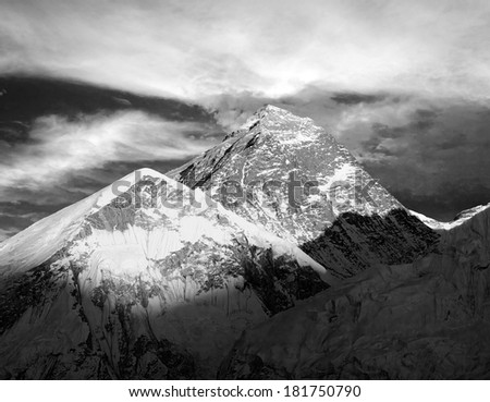 Evening black and white view of Everest from Kala Patthar - trek to Everest base camp - Nepal  - stock photo