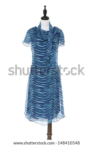 Evening blue dress on a dummy isolated on a white background