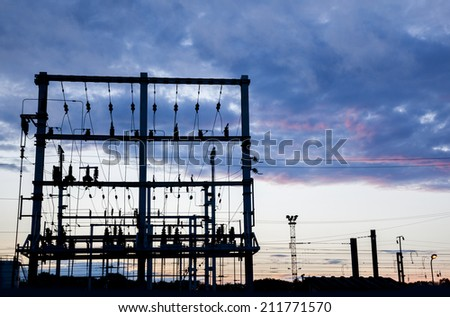 evening by electric station  - stock photo