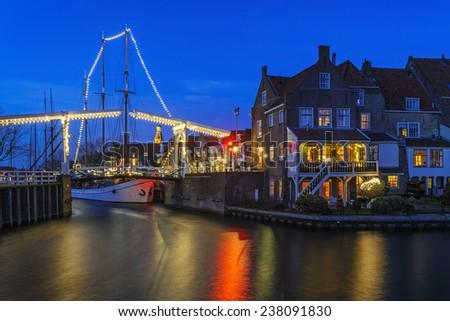 Evening Christmas decoration of  Enkhuizen, The Netherlands - stock photo