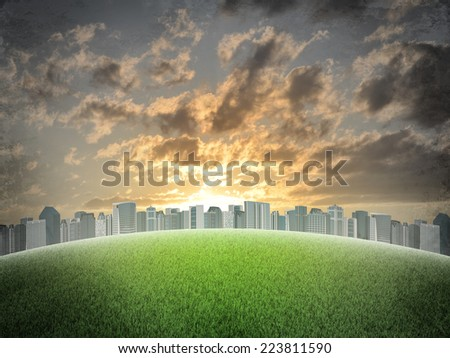 Evening city. Buildings and green grass field. Grunge style
