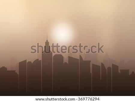 Evening city in silhouette. Town with skyscrapers,  lights and orange sky. Light brown sky with sun. Raster illustration