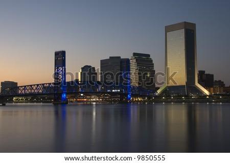 Evening city scene in Jacksonville Florida - stock photo