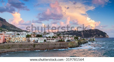 Evening cityscape of Forio, Ischia, town in the Metropolitan City of Naples, Italy