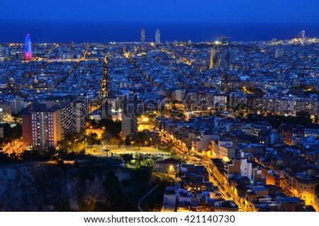 Evening Cityscape over from Bunkers - Barcelona, Catalonia, Spain
