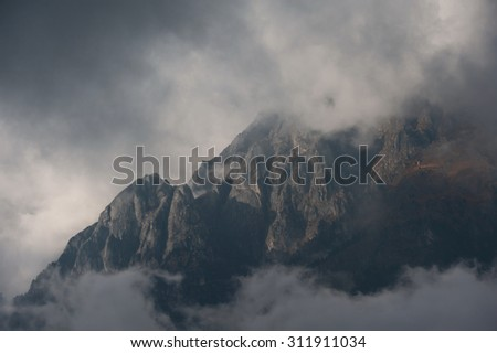 Evening clouds over the mountain Nepal.