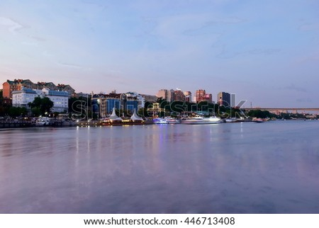 Evening coast of Rostov-on-don. Russia - stock photo
