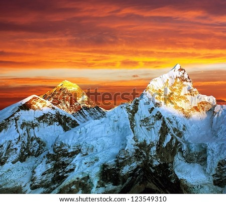 Evening colored view of Everest from Kala Patthar - Nepal - stock photo