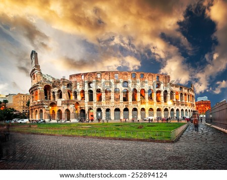 Evening Colosseum is one of Rome's most popular tourist attractions, Italy - stock photo