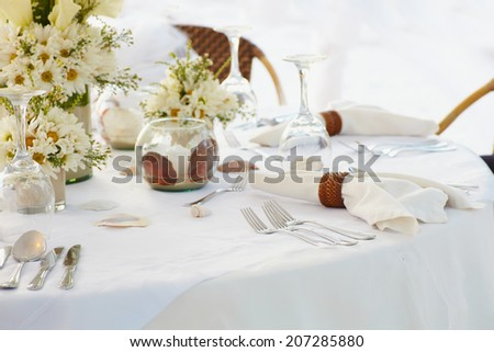 Evening dinner on wedding ceremony, close up tableware - stock photo