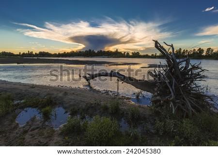 Evening Dnieper river covered with haze. Ukraine - stock photo